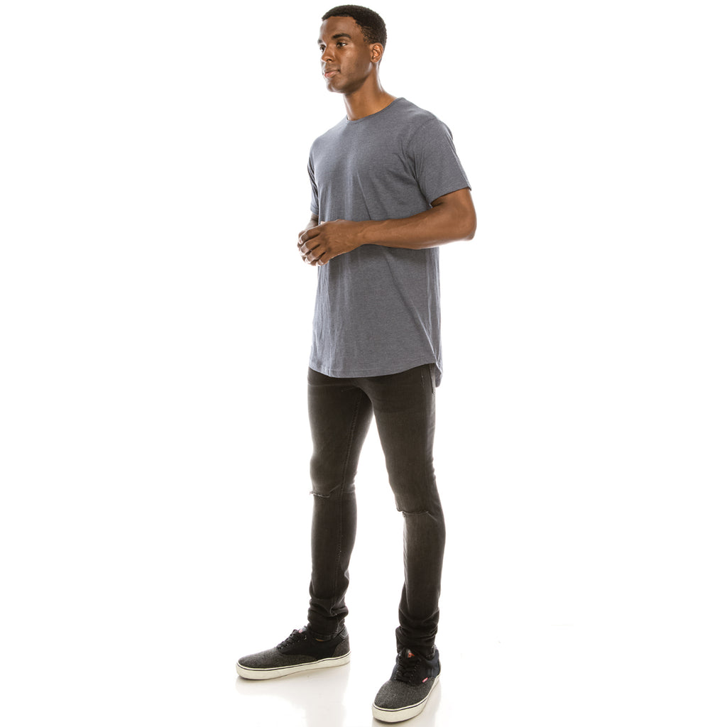 Drop Cut Longline T-Shirt - Heather Navy