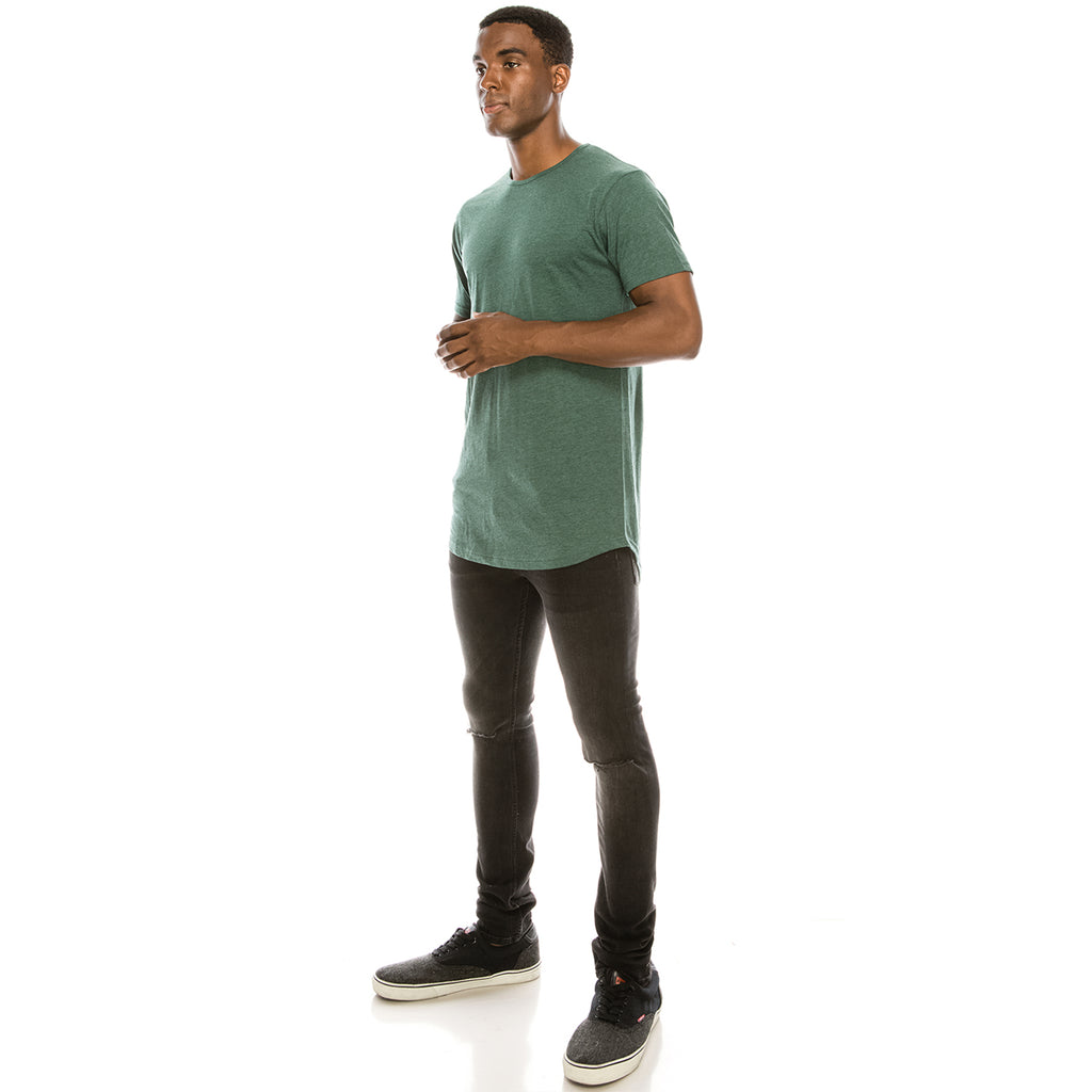 Drop Cut Longline T-Shirt - Heather Green