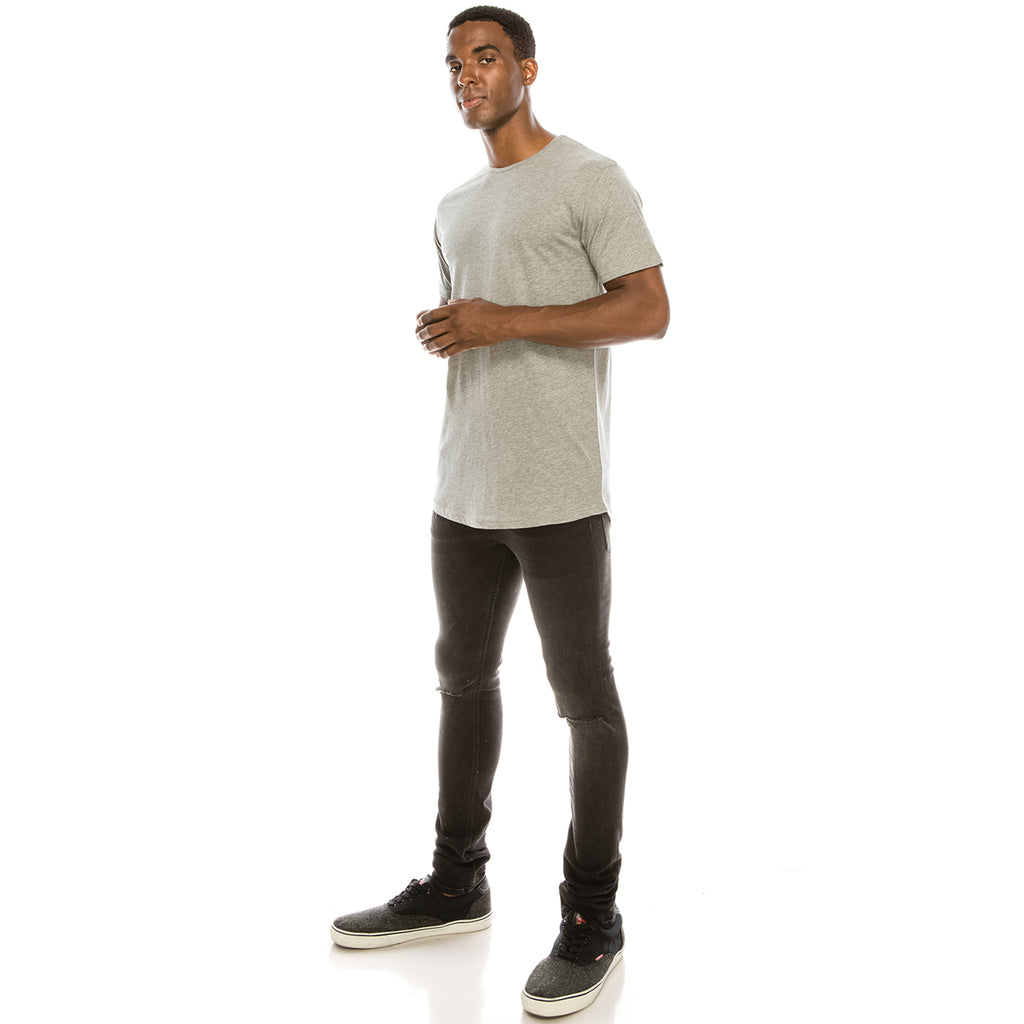 Drop Cut Longline T-Shirt - Heather Grey