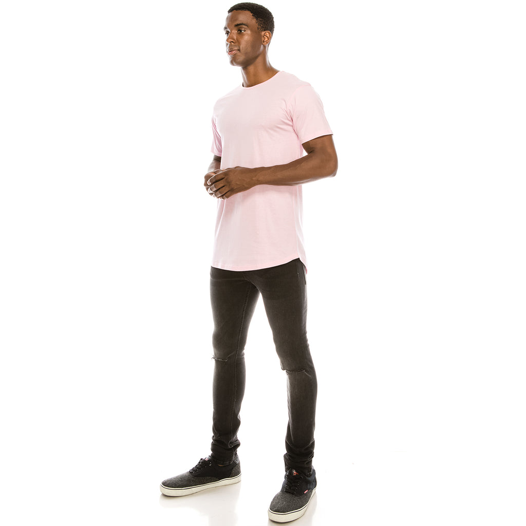 Drop Cut Longline T-Shirt - Pink