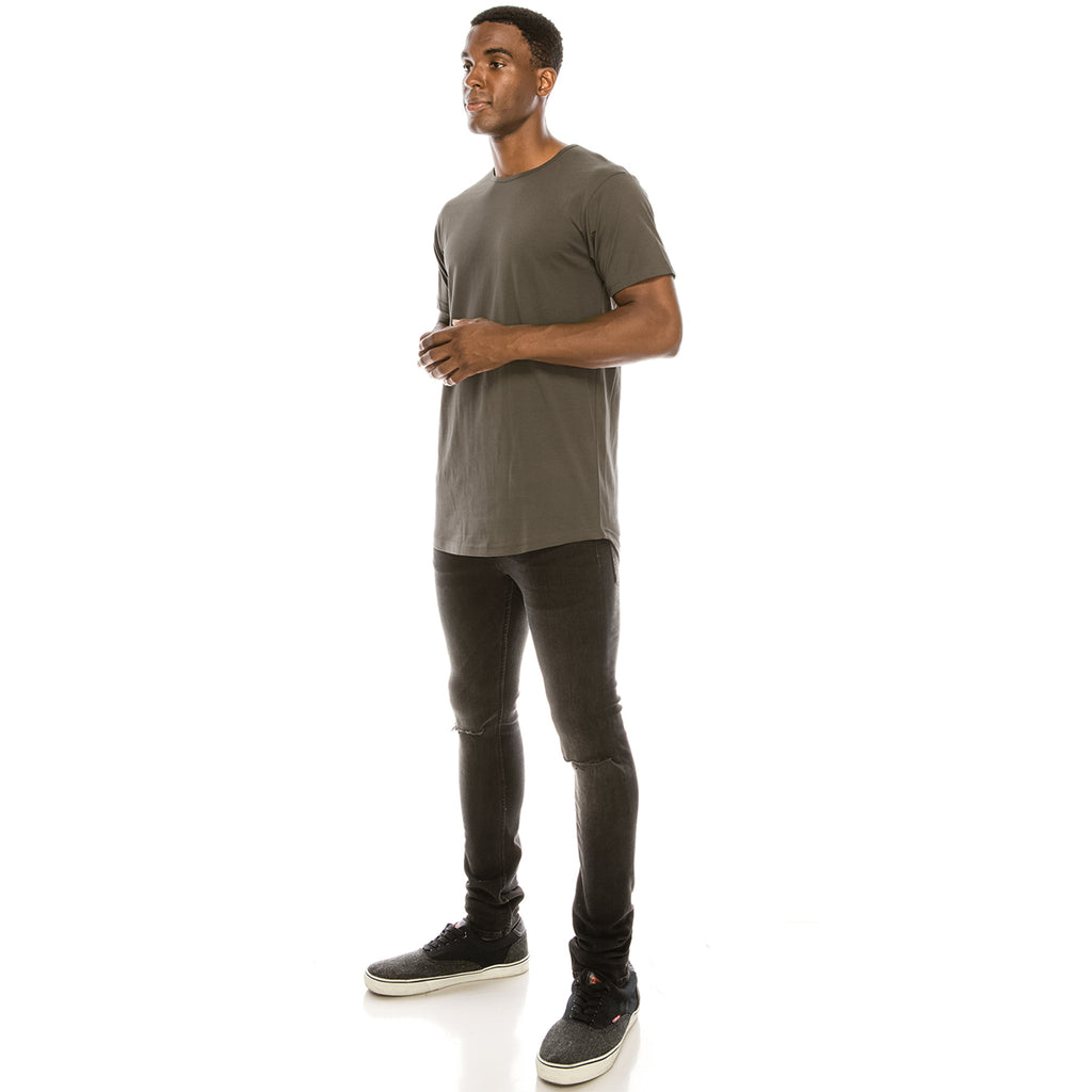 Drop Cut Longline T-Shirt - Warm Grey