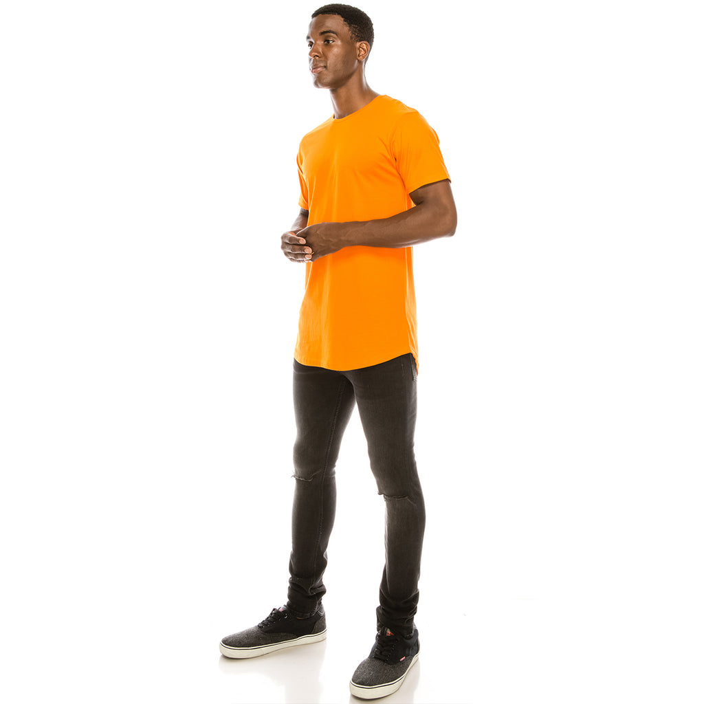 Drop Cut Longline T-Shirt - Orange