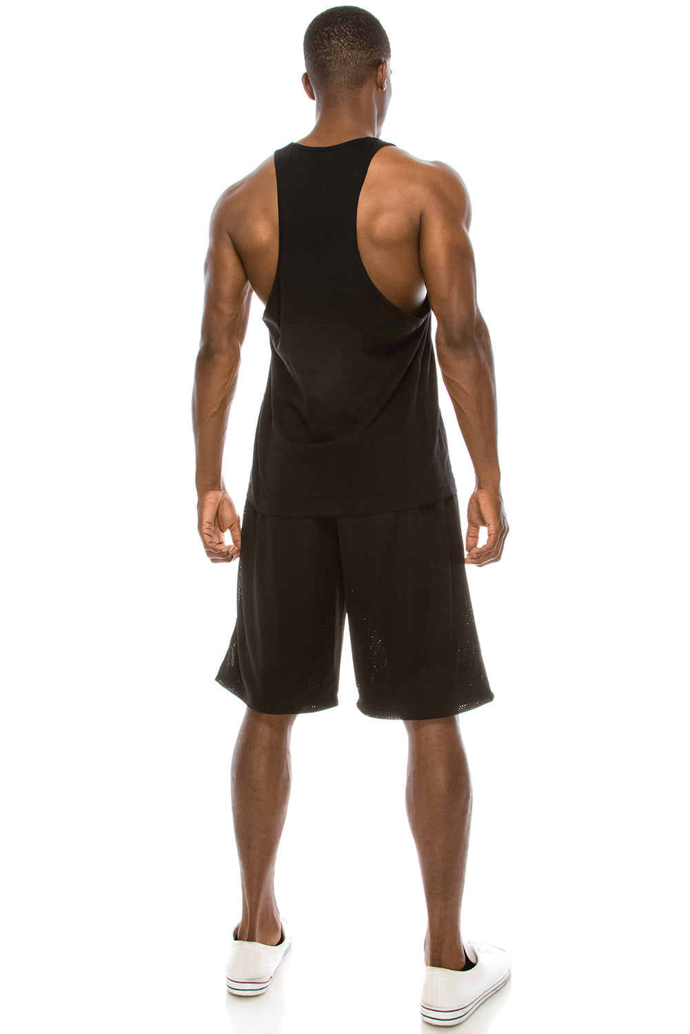 Unisex Workout Deep Cut Muscle Tank Top (Black)