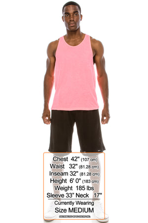 Unisex Workout Deep Cut Muscle Tank Top (Fuchsia)