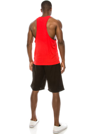 Unisex Workout Deep Cut Muscle Tank Top (Red)