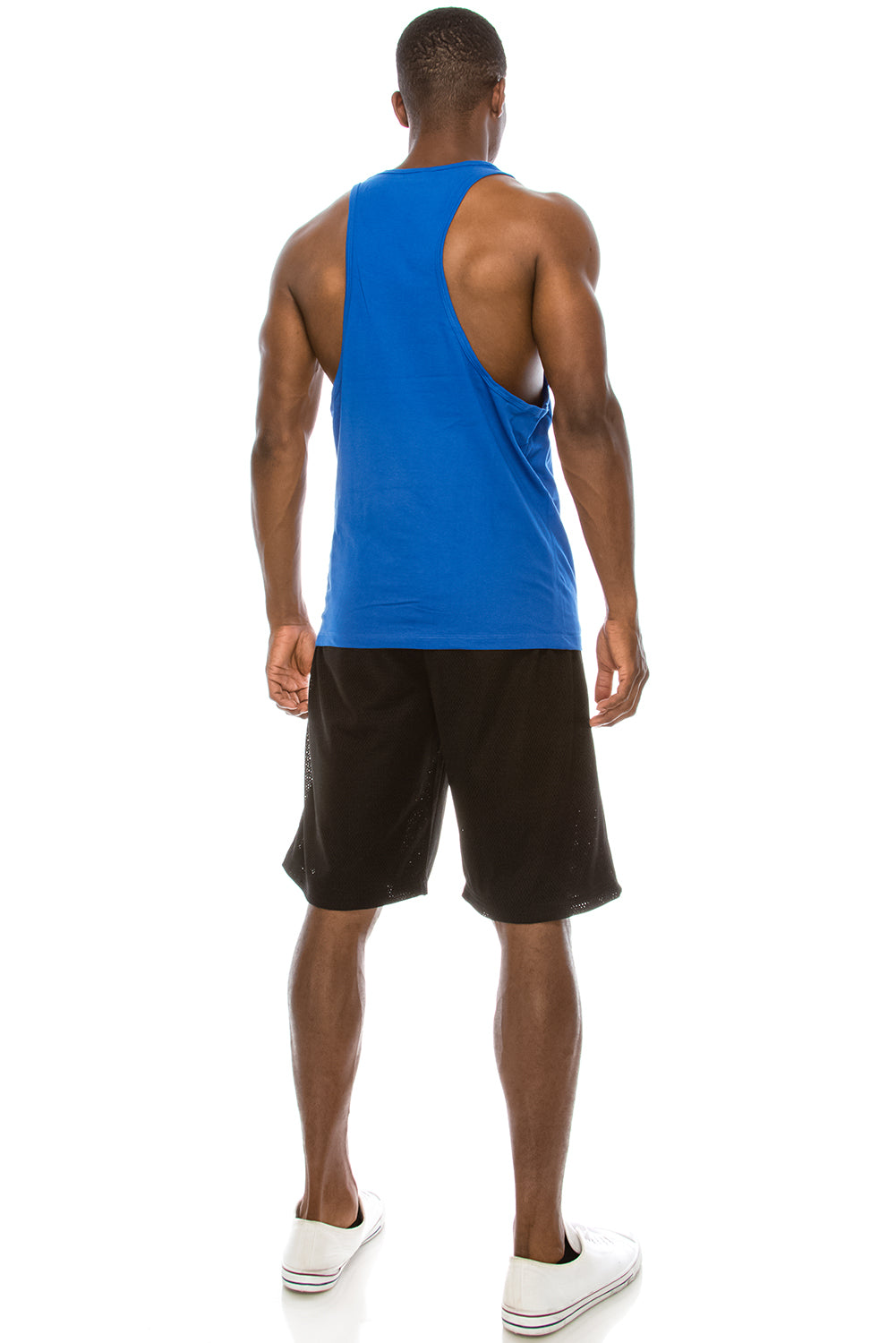 Unisex Workout Deep Cut Muscle Tank Top (Royal)