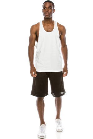 Unisex Workout Deep Cut Muscle Tank Top (White)