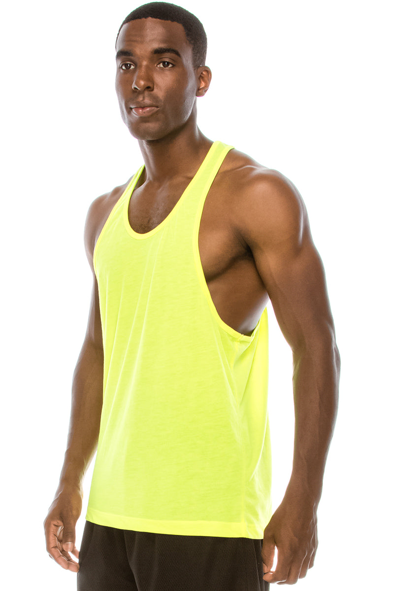 Unisex Workout Deep Cut Muscle Tank Top (Yellow)