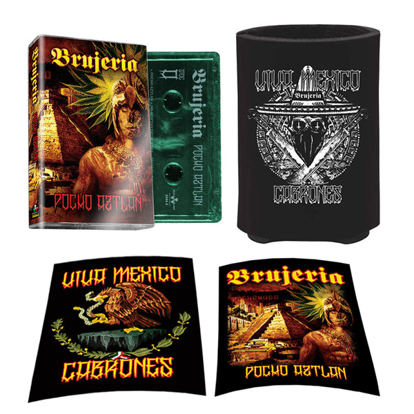 "Brujeria - ""Poncho Aztlan"" Green Cassette, Koozie and Sticker Bundle"
