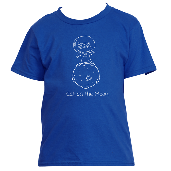 Gender Neutral Cat On The Moon Classic Tee Shirts - Gender Bender Kids