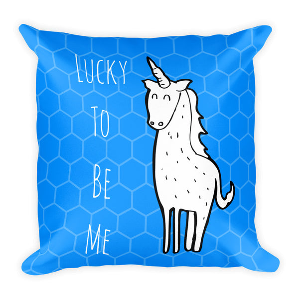Gender Neutral Lucky To Be Me Blue Square Pillow  - Gender Bender Kids
