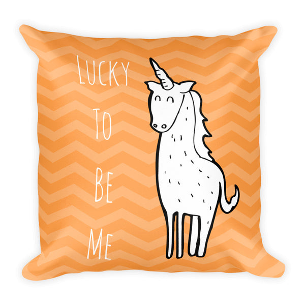 Gender Neutral Lucky To Be Me Orange Square Pillow  - Gender Bender Kids