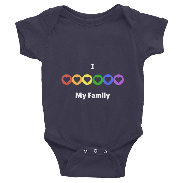 Gender Neutral I Love My Family Onesie Short Sleeve  - Gender Bender Kids