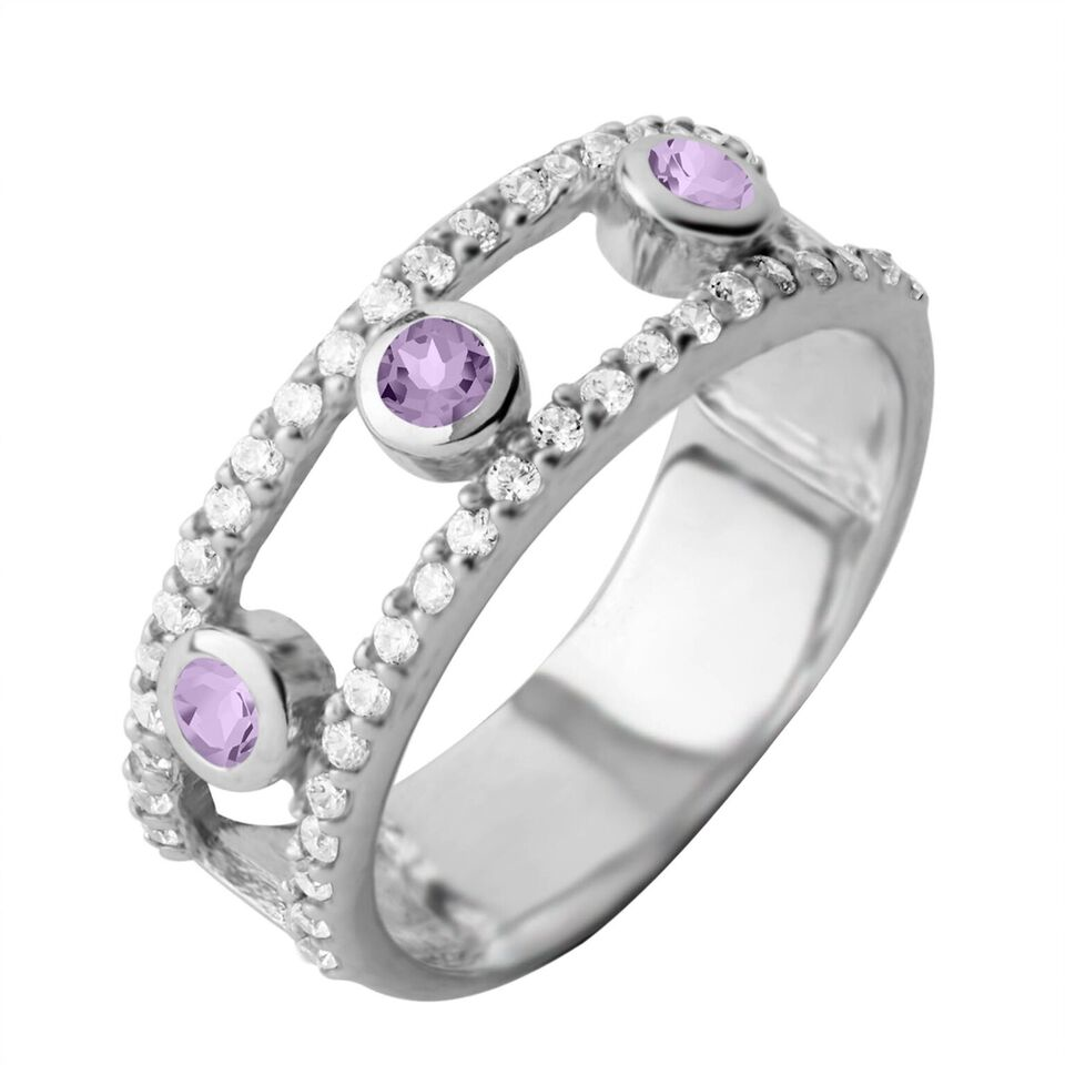 Gemstone Layer Ring, Amethyst