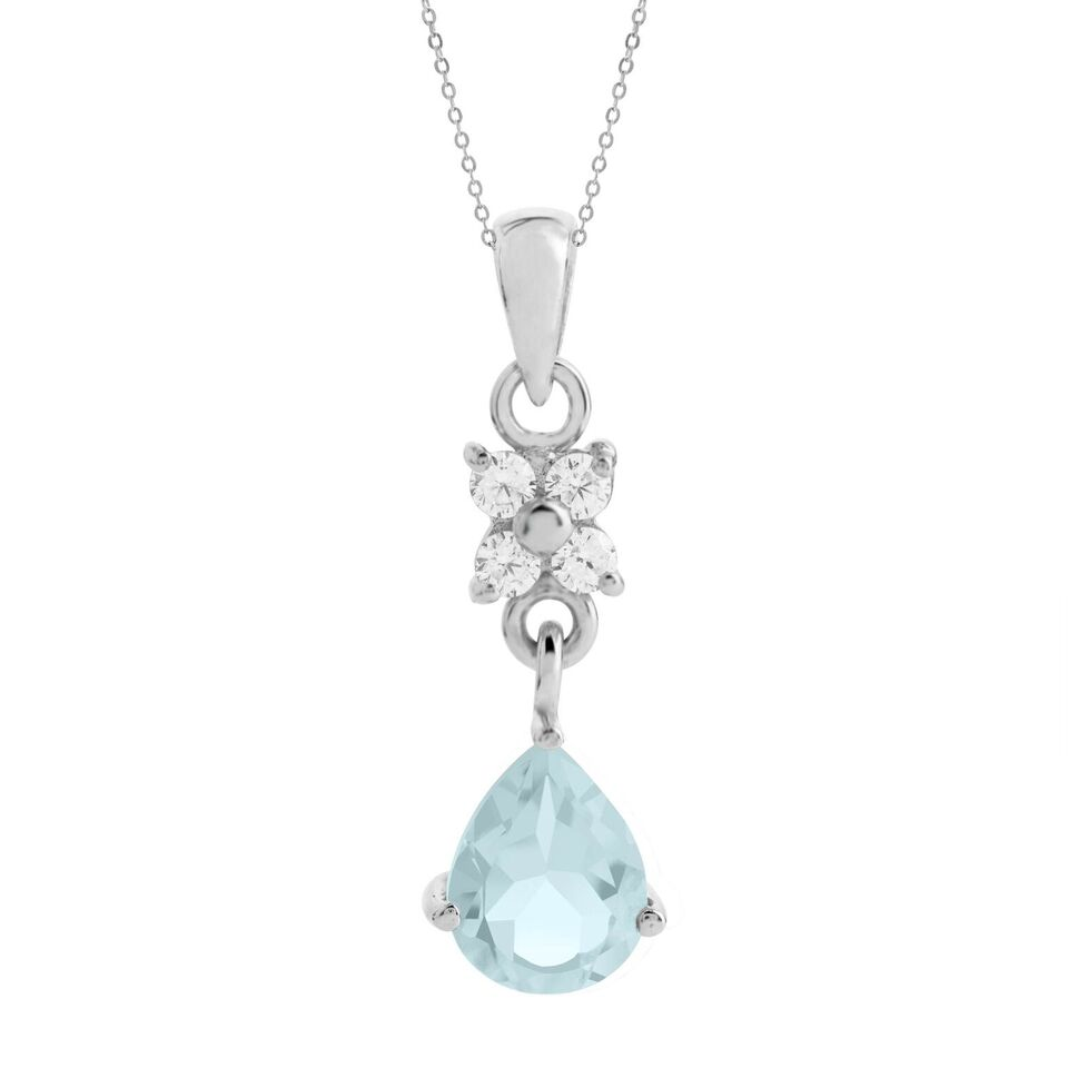 Pear Drop Pendant, Blue Topaz