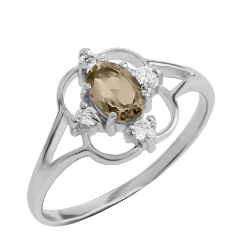 Asteria Gemstone Ring, Smokey Topaz