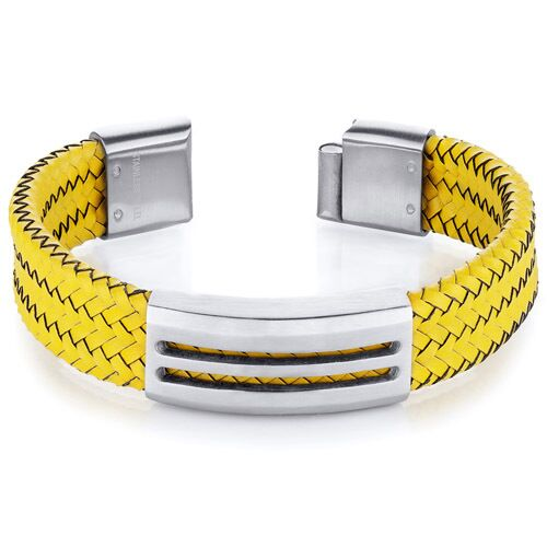 Fancy Yellow Leather and Stainless Steel Men's Bracelet