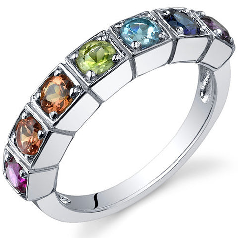 Gemstone Row Ring, Rainbow