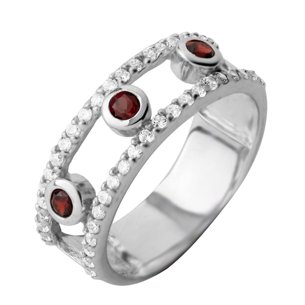 Gemstone Layer Ring, Garnet