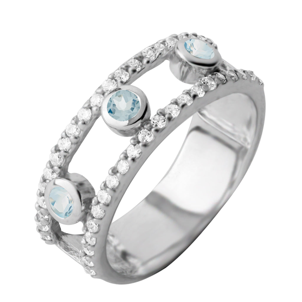Gemstone Layer Ring, Blue Topaz