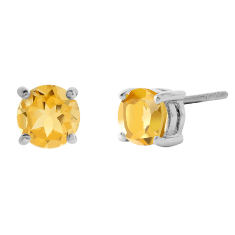Stunning Gemstone Stud Earrings, Citrine