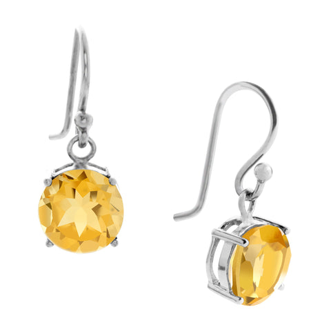 Gemstone Drop Earrings, Citrine