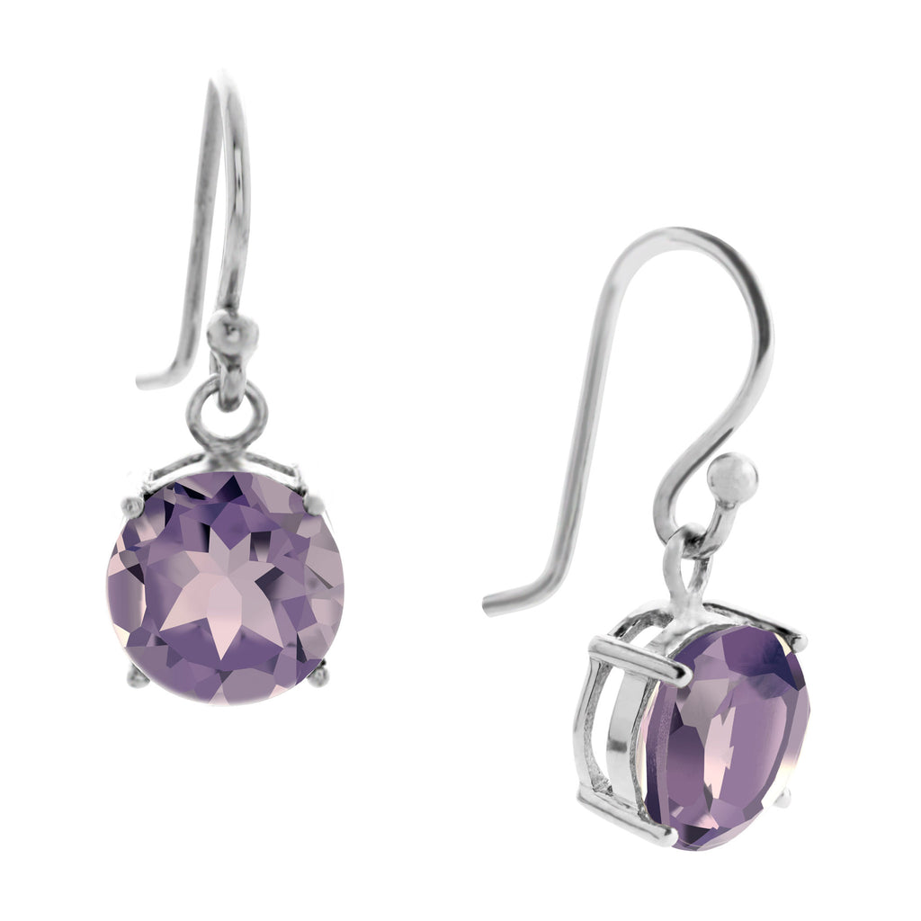 Gemstone Drop Earrings, Amethyst