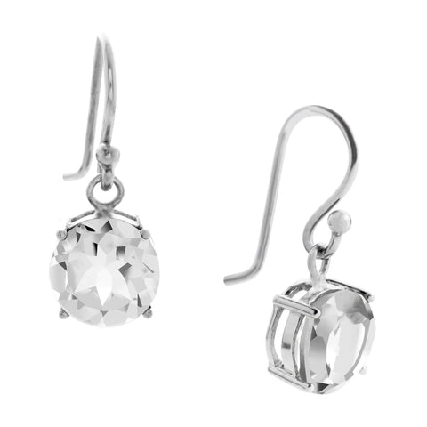 Gemstone Drop Earrings, White Topaz