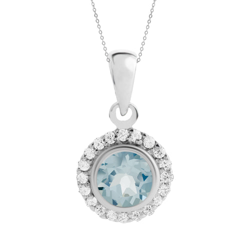 Asteria Gemstone Pendant, Blue Topaz