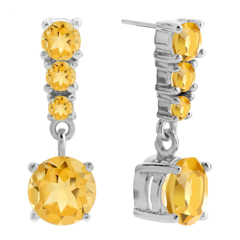 Quatre Drop Earrings, Citrine