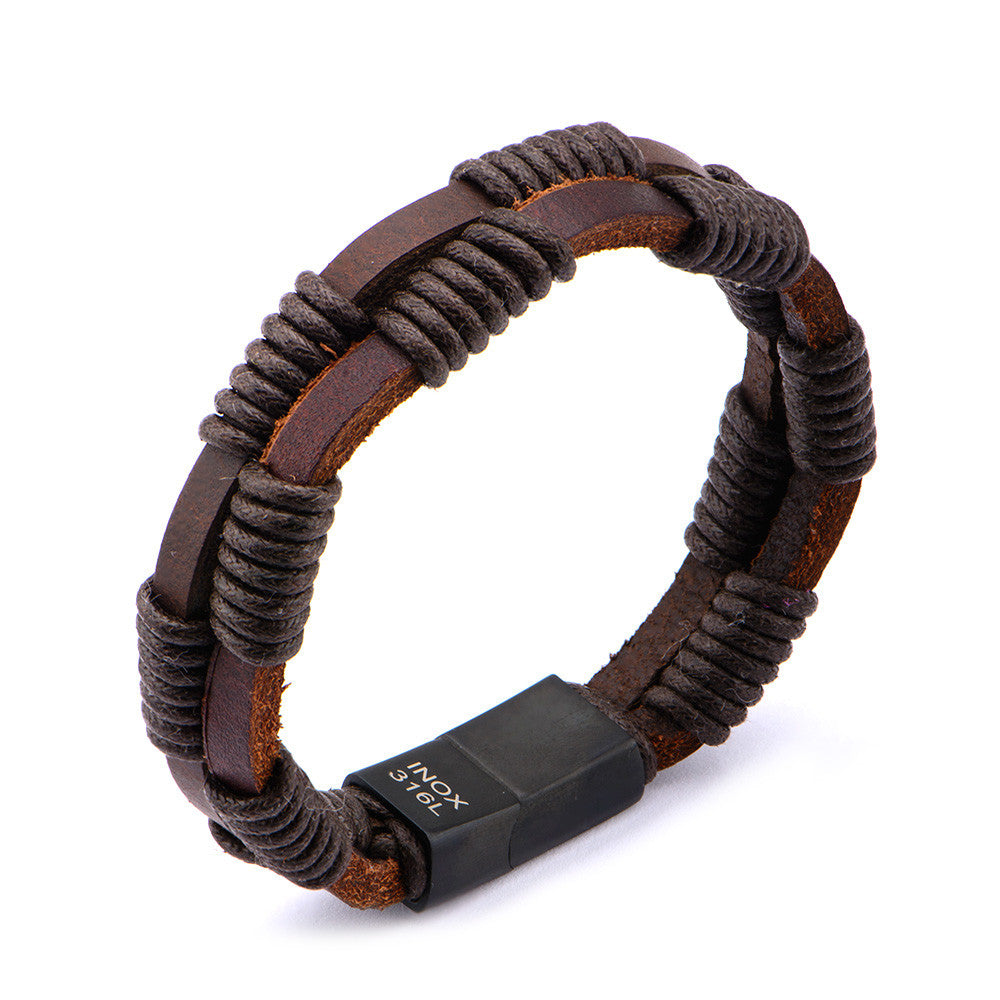 Men's Double Strap Brown Leather Bracelet Wrapped with Brown Rope