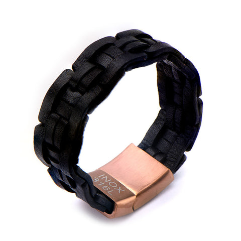 Men's Black Woven Leather and Steel Bracelet