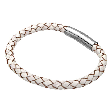 White Leather Braided Bracelet, Stainless Steel