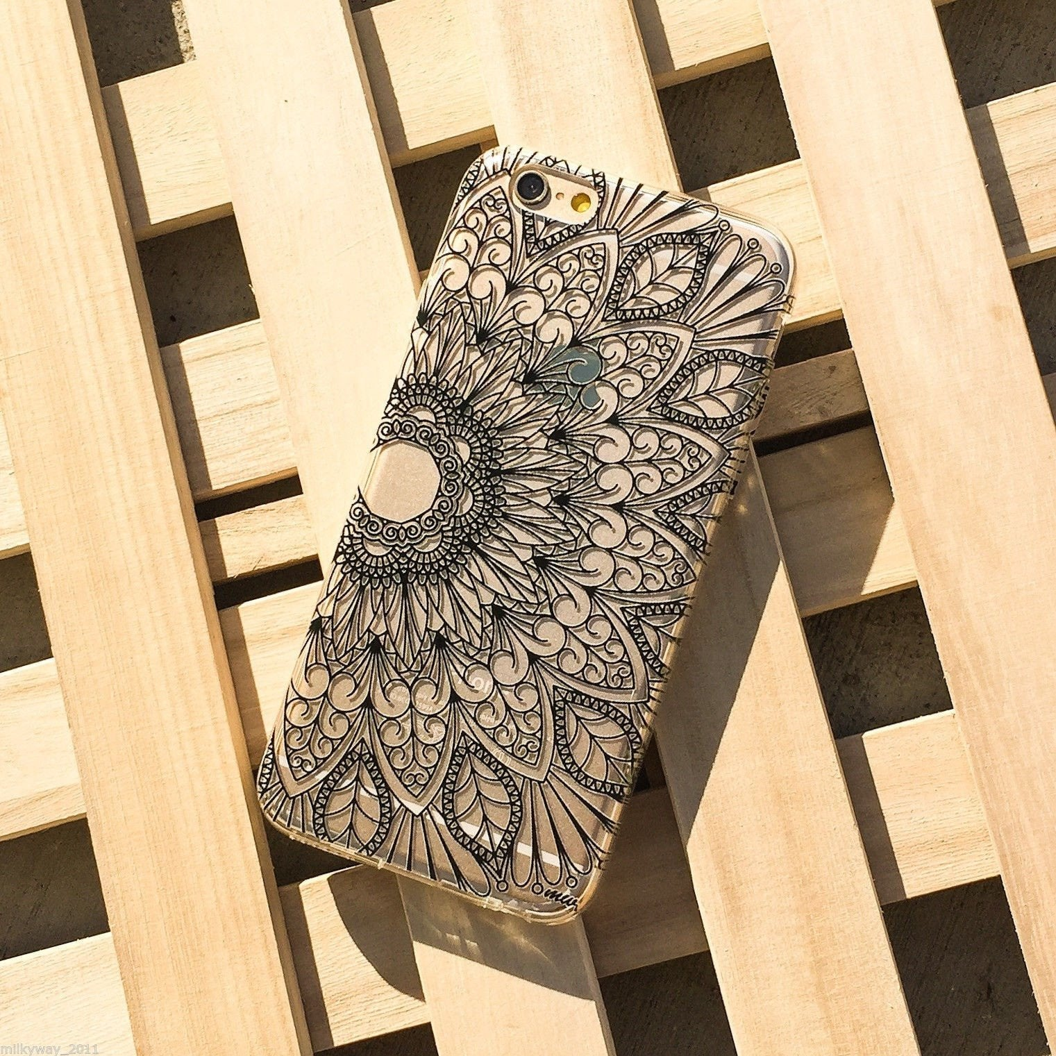 Black Mandala Cell Phone Case for iPhone and Samsung