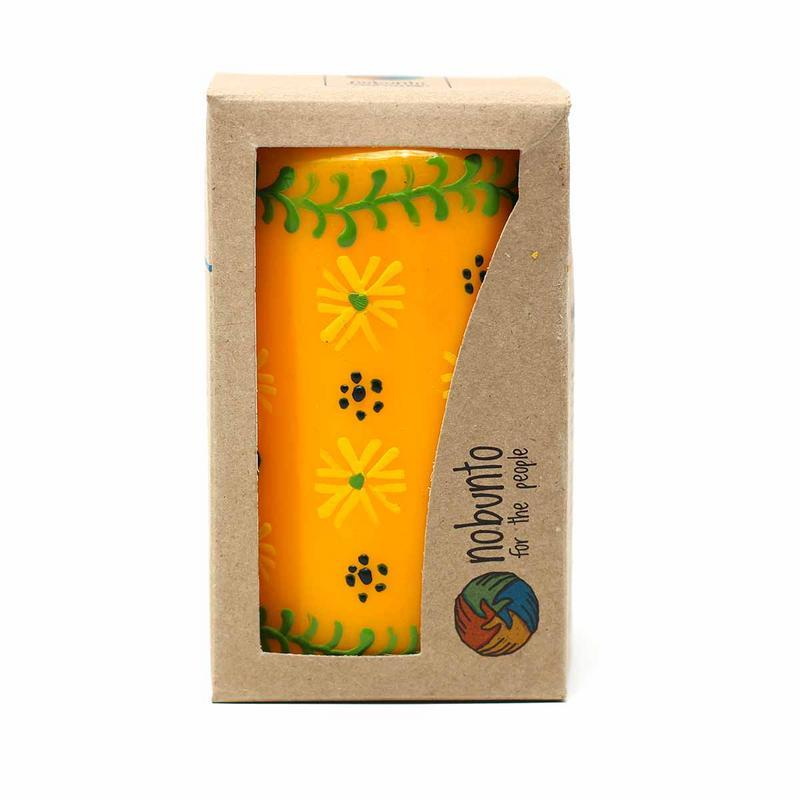 Hand Painted Candles in Yellow Masika Design (pillar) - Nobunto