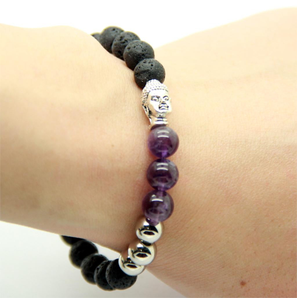 Natural Amethyst with Lava Stone Beads Gold & Silver Buddha Bracelets for Men