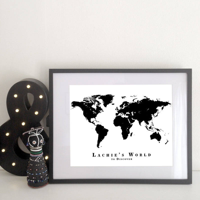 Your World Map - White & Black