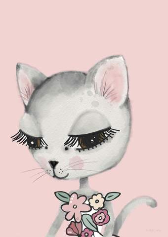leena-cat-pink-print-sailah-lane-kidsart-faith-laine