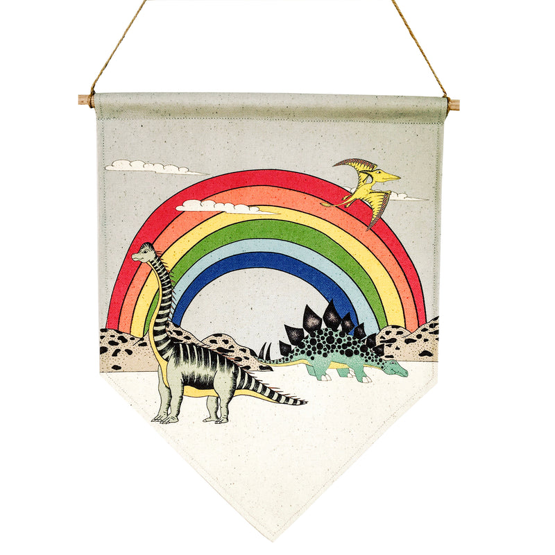 Rainbow Dinosaur Dreaming Canvas Banner