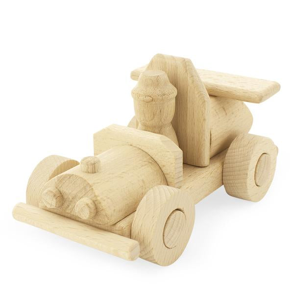 Wooden Race Car with Driver