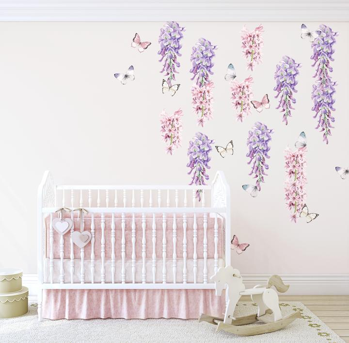 Wisteria, Hyacinth & Butterfly Wall Decals