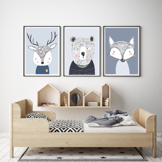 woodlandanimal-print-trio-myhiddenforest-nursery-print-faithlaine