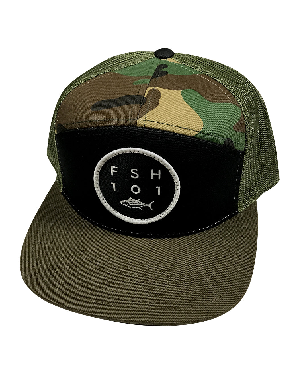 ced80096e73 Fish 101 Camo 7 Panel Hat | Fish 101 Restaurant