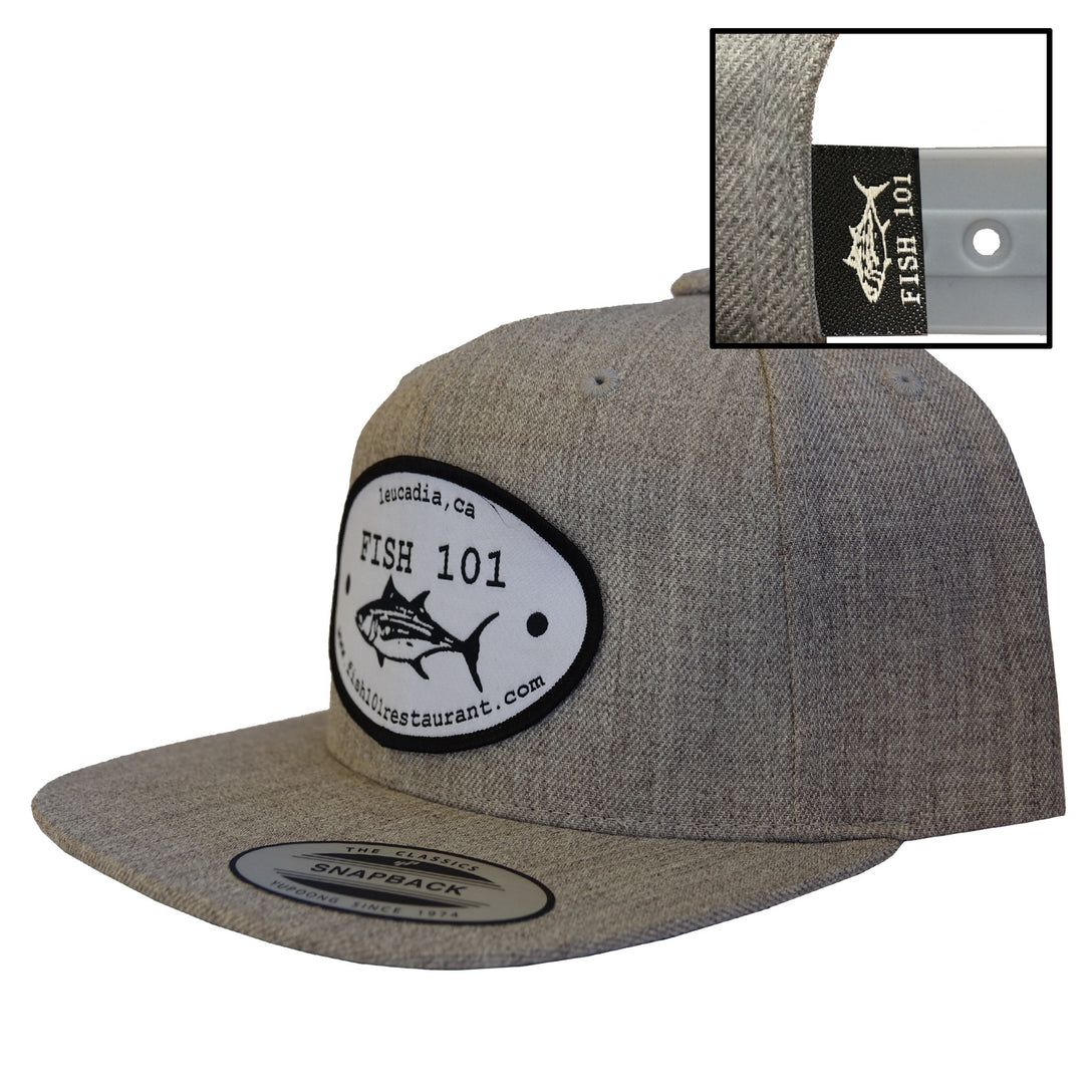 Fish101 Heather Grey Oval Patch Lucky Hat