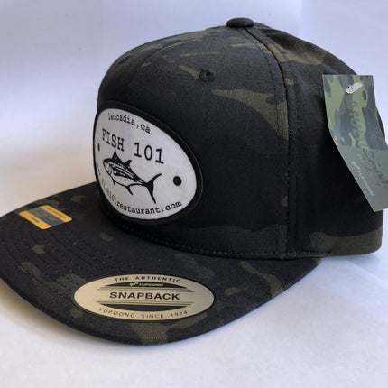 Fish 101 Multicam Black Camo Oval Patch Lucky Hat