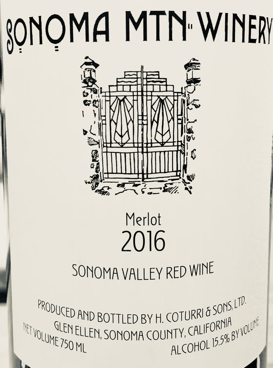 Sonoma Mtn-Winery Merlot 2016, Sonoma County, California