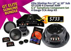 "GT ELITE SLIMLINE BUNDLE ( ES 12"" or 10"" Subwoofer, + GT-3100 Amplifier + 4G CCA Amp Kit)"