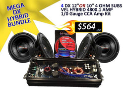 MEGA DX HYBRID BUNDLE ( 4 DX-124 Subwoofers + 4800.1 Amplifier + 1/0 CCA Amp Kit)