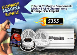 "ULTIMATE MARINE BUNDLE - 2 Pair Marine 6.5"" Components  + Marine 4 Ch. Amplifier + 8 G Amp Kit)"