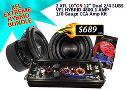 "XTREME XFL HYBRID BUNDLE ( 2 XFL 10"" or 12"" Subwoofers + 4800.1 Amplifier + 1/0 CCA Amp Kit)"